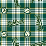 Fleece (not for masks) Oakland A's Athletics Plaid MLB Baseball Sports Team Fleece Fabric Print by the Yard (s6625bf)
