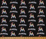 Cotton Miami Marlins MLB Baseball Sports Team Cotton Fabric Print by the Yard (s6686bf)