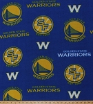 NBA Golden State Warriors Blue Basketball Sports Team Fleece Fabric Print by the yard