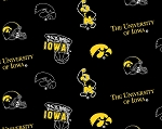 The University of Iowa Hawkeyes Black College Fleece Fabric Print by the Yard
