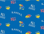 University of Kansas™ Jayhawks™ Blue College  Fleece Fabric Print