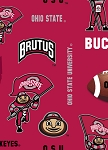 Fleece Ohio State University Buckeyes Brutus Red College Fleece Fabric Print by the Yard