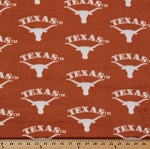 Fleece University of Texas Longhorns College Fleece Fabric Print By the Yard - Orange