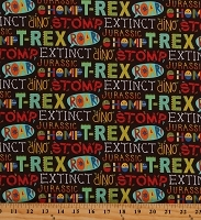 Cotton Dinosaurs Dinos Words T-Rex Animals Kids Jurassic Jamboree Brown Cotton Fabric Print by the Yard (35291-19)