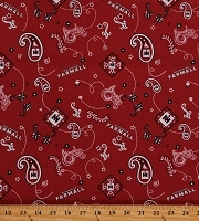 Cotton Bandanas McCormick Farmall International Harvester Tractors Farming Red Cotton Fabric Print by the Yard (10115)
