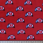 Fleece University of Utah Utes College Fleece Fabric Print By the Yard - Red