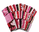 10 Fat Quarters - Valentine's Day Hearts Love Sweetheart Pink Red Sparkle Roses Floral Valentine Assorted Quality Quilters Cotton Assorted Fat Quarter Bundle M229.04