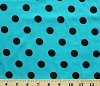 Cotton Blend Jersey Knit Turquoise with Black Dots Fabric Print By Yard (6966F-5L)