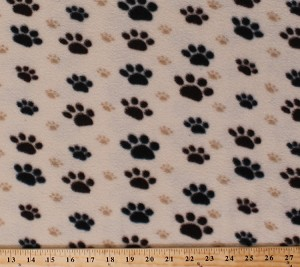 Fleece Large Black Paws with Small Tan Paws Paw Prints Dogs Pets Animals Fleece Fabric Print by the Yard 32438-10m-pawtan