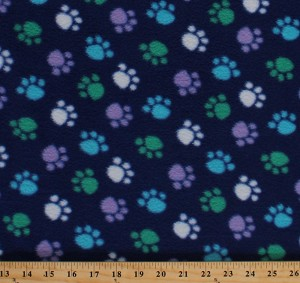 Fleece Blue Green White Purple Paws on Royal Blue Paw Prints Dogs Pets Animals Fleece Fabric Print by the Yard 32438-10m-pawsblue