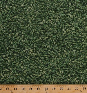 Cotton Winter Birds Coordinate Green Leaf Leaves Fir Trees Branches Cotton Fabric Print by the Yard (21266-74-green)