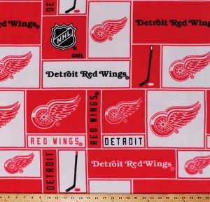 Fleece Detroit Red Wings NHL Hockey Sports Team Fleece Fabric Print by the yard (012win)