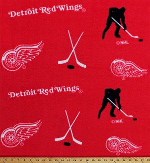 Fleece Detroit Red Wings Red NHL Hockey Sports Team Fleece Fabric Print by the Yard (035s)