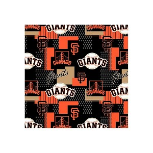 "Cotton San Francisco Giants on Black MLB Baseball Sports Team 58"" Cotton Fabric Print by the Yard ( s14545b)"