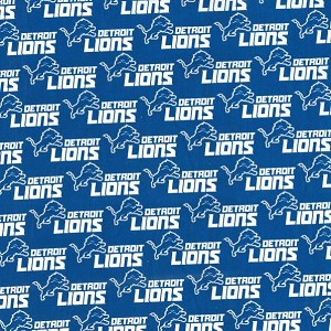 Cotton Detroit Lions Logo Nfl Pro Football Sports Team Blue Cotton Fabric Print By The Yard