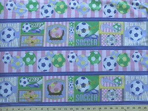 Cotton Sports Collage Soccer Balls Phrases Repeating Stripe Multi (4 Parallel Stripes) Cotton Fabric Print by the yard (1845-80429-366)