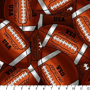 Fleece (not for masks) Packed Footballs Fleece Fabric Print by the Yard (s221849-7apd)