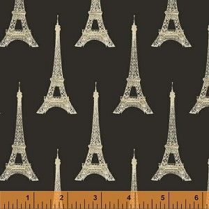 Eiffel Tower Paris France French Love Monuments Landmarks Attractions Sightseeing Travel Tourists Tourism Europe I Dream of Paris Gold Towers on Black Black Cotton Fabric Print by the Yard (36379-2)