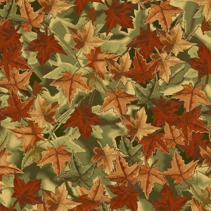 VelvaFleece Foliage Leaves Leaf Packed Autumn Green Fabric Print by the Yard o36460b