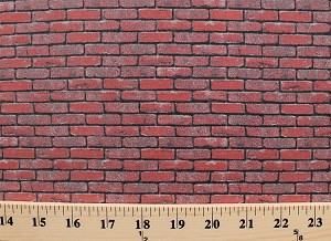 "Cotton Landscape Medley Bricks Red Brick Wall Miniature 1"" x 0.375"" Bricks Cotton Fabric Print by the Yard (367-red)"