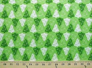 Cotton Pine Trees Christmas Trees Snowflakes Holiday Festive Conifers Green White Cotton Fabric Print by the Yard (3816-47355-GREEN)
