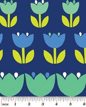 Tulips Blue Turquoise Flowers Spring Floral Blossoms Blooms Botanical Garden Gardening Dutch Netherlands Palm Springs Navy Cotton Fabric Print by the Yard (3961-55)