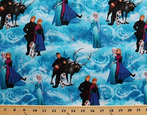 Cotton Disney Frozen Character Scene (Elsa, Anna, Olaf, Kristoff, and Sven) Blue Cotton Fabric Print by the Yard (51877-1600715)