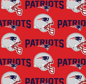 Cotton New England Patriots Red NFL Pro Football Cotton Fabric Print - Red