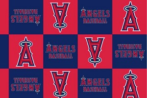 Fleece (not for masks) Los Angeles Angels of Anaheim MLB Baseball Squares Boxes Fleece Fabric Print by the yard