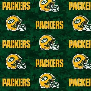 Cotton Green Bay Packers Digital Green Nfl Pro Football Cotton Fabric Print