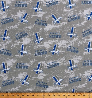 Cotton Detroit Lions Legacy Logos Gray NFL Professional Football Sports Team Cotton Fabric Print by the Yard (70283d)