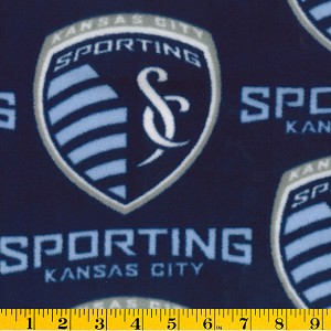 Fleece (not for Masks) SC Sporting KC Kansas City MLS Major League Soccer Fleece Fabric Print by the yard