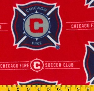 Fleece (not for masks) Chicago Fire MLS Major League Soccer Fleece Fabric Print by the yard