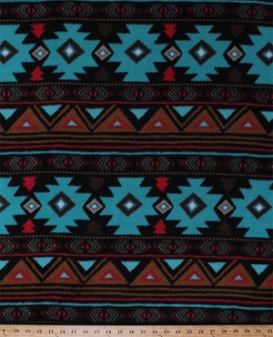 Fleece (not for masks) Peace Stripe Stripes Southwest Southwestern Turquoise Brown Red Aztec Fleece Fabric Print by the Yard (46374-2b)