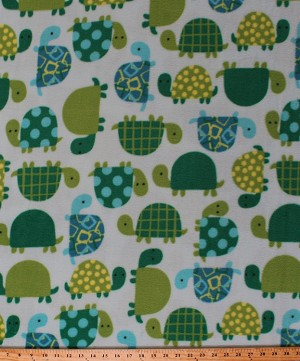 Fleece Turtle Time Turtles Green Blue Reptile Animal Kids Fleece Fabric Print by the Yard (46377-1b)