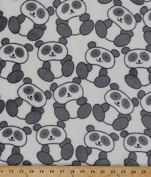 Micro Plush Mink-Like Cuddle Feel Panda Bears Kids Animals on White Fabric By the Yard (2574M-7N)