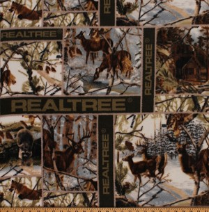 Fleece (not for masks) Realtree White Winter Blocks Camouflage Deer Hunting Fleece Fabric Print by the Yard 01505s