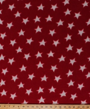Fleece (not for masks) White Stars Star on Red Patriotic Fleece Fabric Print by the Yard (3004S-9N-RED)