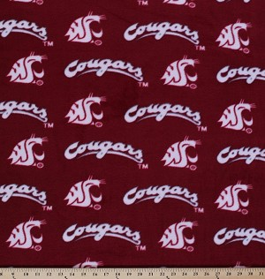 Fleece Washington State University Cougars College Fleece Fabric Print By the Yard - wsu-red