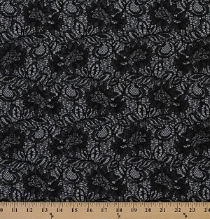 "60"" Black Lace With Silver Satin Backing Floral Leaves Lace Fabric By the Yard (2740F-5M)"