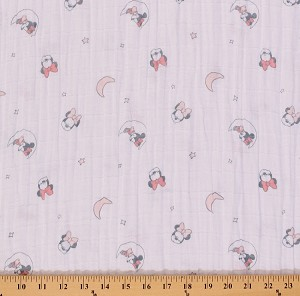 "Two- Layer Softee Double Gauze 50"" Cotton Baby Pink Mickey Mouse By the Yard (85270002E)"