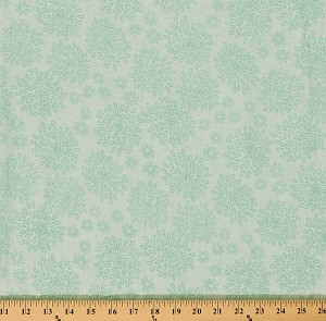 "Two- Layer Softee Double Gauze 58"" Cotton Baby Aqua Flowers Flower on Mint (G581-AQUA)"