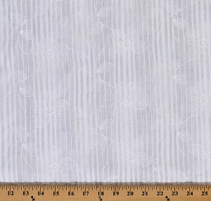 Embroidered Cotton Lawn Batiste Shadow Stripe Heirloom White Floral Flowers Flower Blossom Bloom Spring Summer Cotton Fabric By the Yard (2509P-5M)