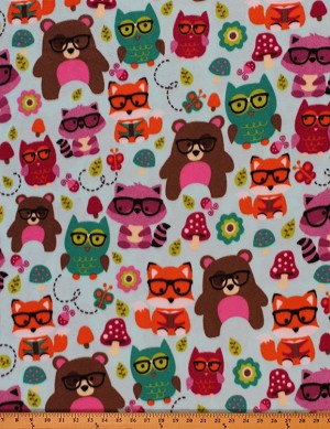 VelvaFleece Nerdy Forest Friends Owl Fox Bear Mushroom Flower on Light Blue Pill-Resistant Kids Fleece Fabric Print by the Yard (44159-1b)