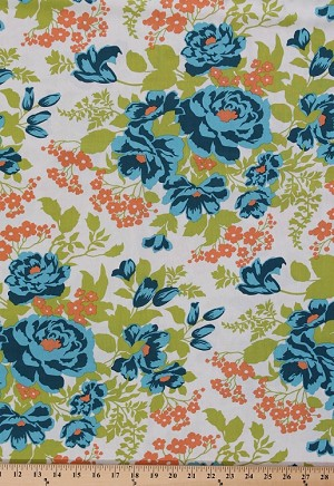 Joel Dewberry Flora Rose Bouquet Roses Blue Green Flowers Flower Floral Rayon Fabric by the Yard (RAJD005.8CARR)