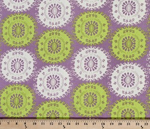 "Tina Givens ""Pernilla's Journey"" Medallion Floral Flowers Flower Green White Purple Cotton Linen Fabric by the Yard (LTG04-Limeade Ice)"