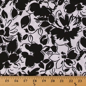 Cotton Pinwale Pique' Flowers Black and White Floral Print Finewale Pique Fabric by the Yard (9870T-12M)