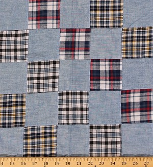 Plaid Patchwork Blue Red Black Yellow Cotton Yarn-dyed Yarn Dyed Fabric By the Yard (9630T-11MPATCH)