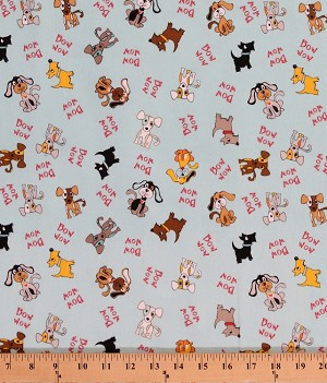 Flannel Dogs Dog Puppies Puppy on Blue Animal Words Bow Wow Kids Flannel By the Yard (F2951Blue)