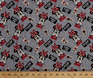 Designed By Minnie Mouse with Love Red Grey Cotton Spandex Knit Jersey Stretch Fabric By the Yard (59770-R320710)